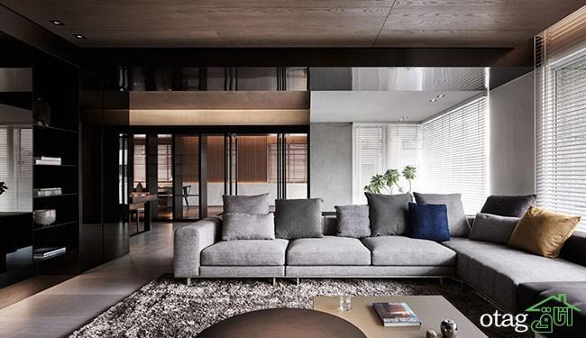 دکوراسیون داخلی آپارتمان با تم تاریک و متریال چوبی و سنگی