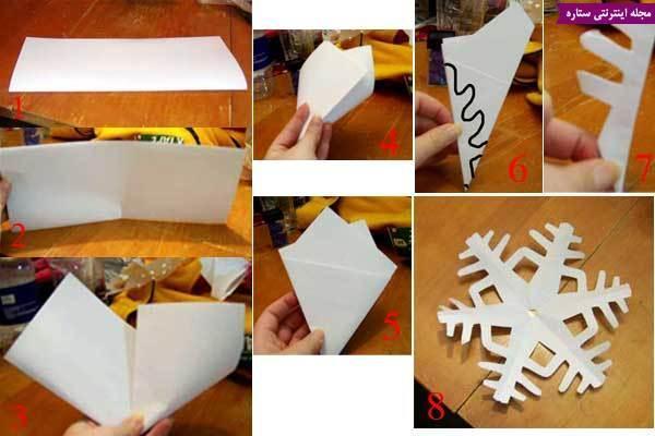 آموزش الگوی دانه برف کاغذی (ویژه تزیینات کریسمس)