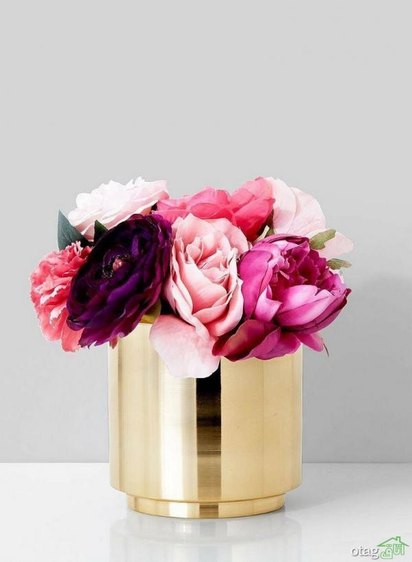 30 مدل گلدان طلایی لوکس در انواع جدید پایه دار و ساده